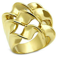 Large Triple Spiral Gold Ep Ladies Cocktail Ring