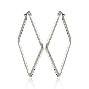 Image Is Loading Stainless Steel Open Diamond Shape Hoop Earrings 30mm