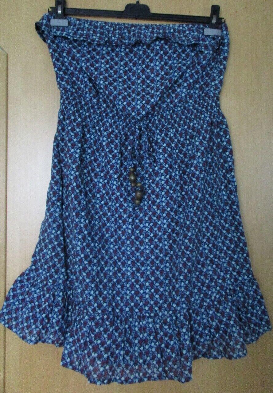 Esprit Kleid Minikleid Bandeaukleid Volant geblümt blau rot Gr. 42 mit Träger