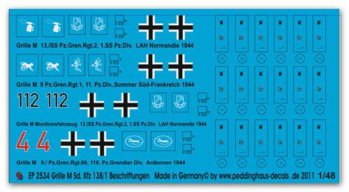 Peddinghaus 2534 1//48 Grille Sd Kfz 138//1 Beschriftungen