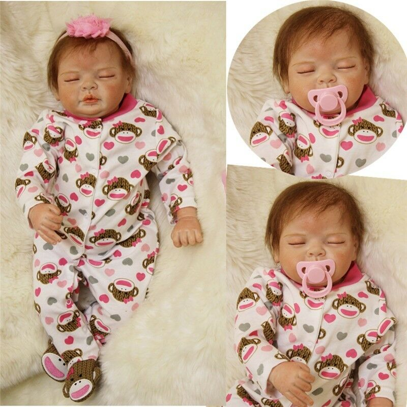 22  55cm Reborn Sleeping Girl Doll Handmade Soft Lifelike Baby Silicone Vinyl