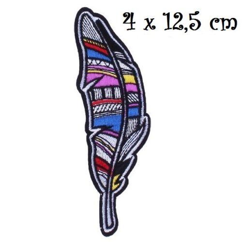 ÉCUSSON APPLIQUE PATCH thermocollant ** 4 x 12,5 cm ** PLUME ETHNIQUE PATCHWORK