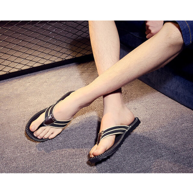 e5bd6dc941a5 Men Summer Sport Casual Slippers Beach Flip Flops Slippers Sandals Size 12  Black for sale online