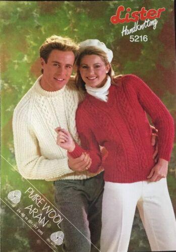 Lister Aran Tejer patrón 5216 para Mujer y Hombre Suéter Jumper 2 estilos
