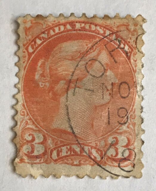 Canada Stamp 1870 Queen Victoria 3 Cents Used