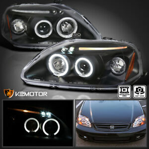 Details about For 1999-2000 Honda Civic Replacement LED Halo Black  Projector Headlights Pair