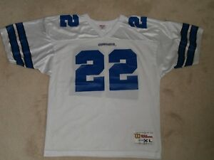 new product 6e092 5ca31 Details about DALLAS COWBOYS #22 E. SMITH NFL WHITE FOOTBALL JERSEY WILSON  BOYS XL(18-20)