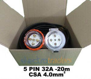 Details about 3 Phase 32A Power Extension Lead 20m Metres with 32 Amp on