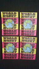 1970s Monty World Money Trading Card Pack 4 Pack Lot