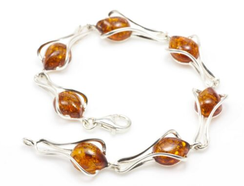 NATURAL BALTIC AMBER BRACELET STERLING SILVER 925 Jewellery Certified /& GIFT BOX