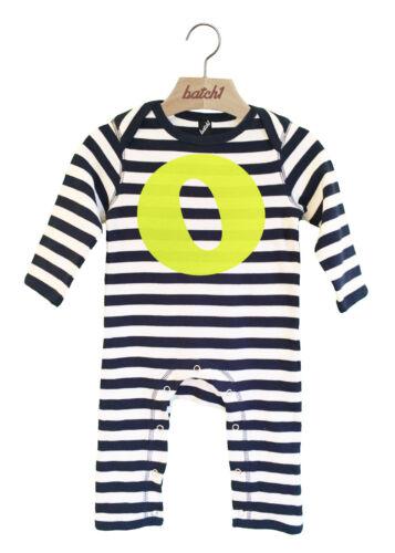 Lot 1 alphabet décor à rayures à manches longues garçons babygrow personnalisée neon lettre o