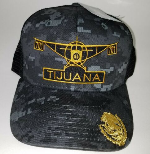 EL AVION DEL CHAPO TIJUANA   MEXICO  701 HAT 2 LOGOS DIGITAL HAT GRAY BLACK
