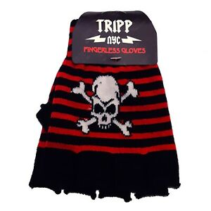 Tripp-NYC-Goth-Gothic-80s-90s-Emo-Punk-Glam-Red-Black-Skull-Fingerless-Gloves