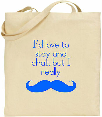 Ich würde Love To Stay und Chat Schnurrbart groß Baumwolltasche Einkaufstasche