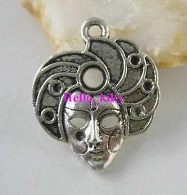 60 Pcs Tibetan silver crafted mask charms A1944