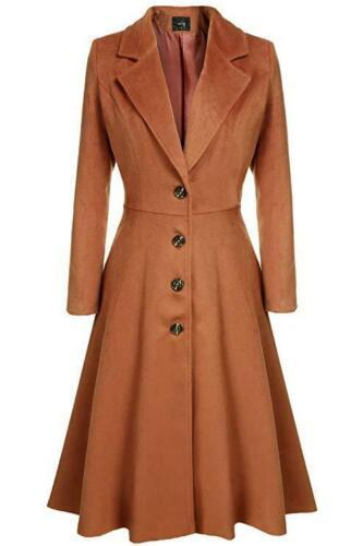 Women Gothic Trench Coat Ladies Winter Wool Blend Slim Fit Jacket Outwears
