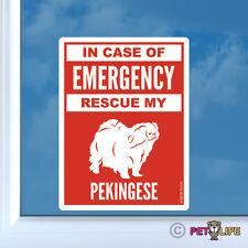 In Case of Emergency Rescue My Pekingese Sticker Vinyl - #2 safety peke lion dog