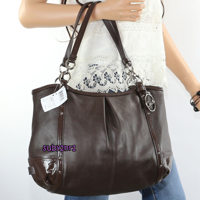 NWT Coach Alexandra Chain Brown Leather Tote Hobo Shoulder Bag Z33011 NEW RARE