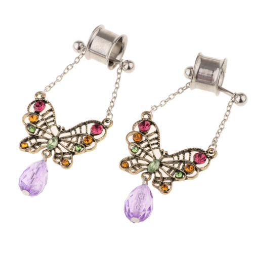 Blesiya 2Pcs Stainless Steel Butterfly Ear Plugs Tunnel Expander Gauges Bar