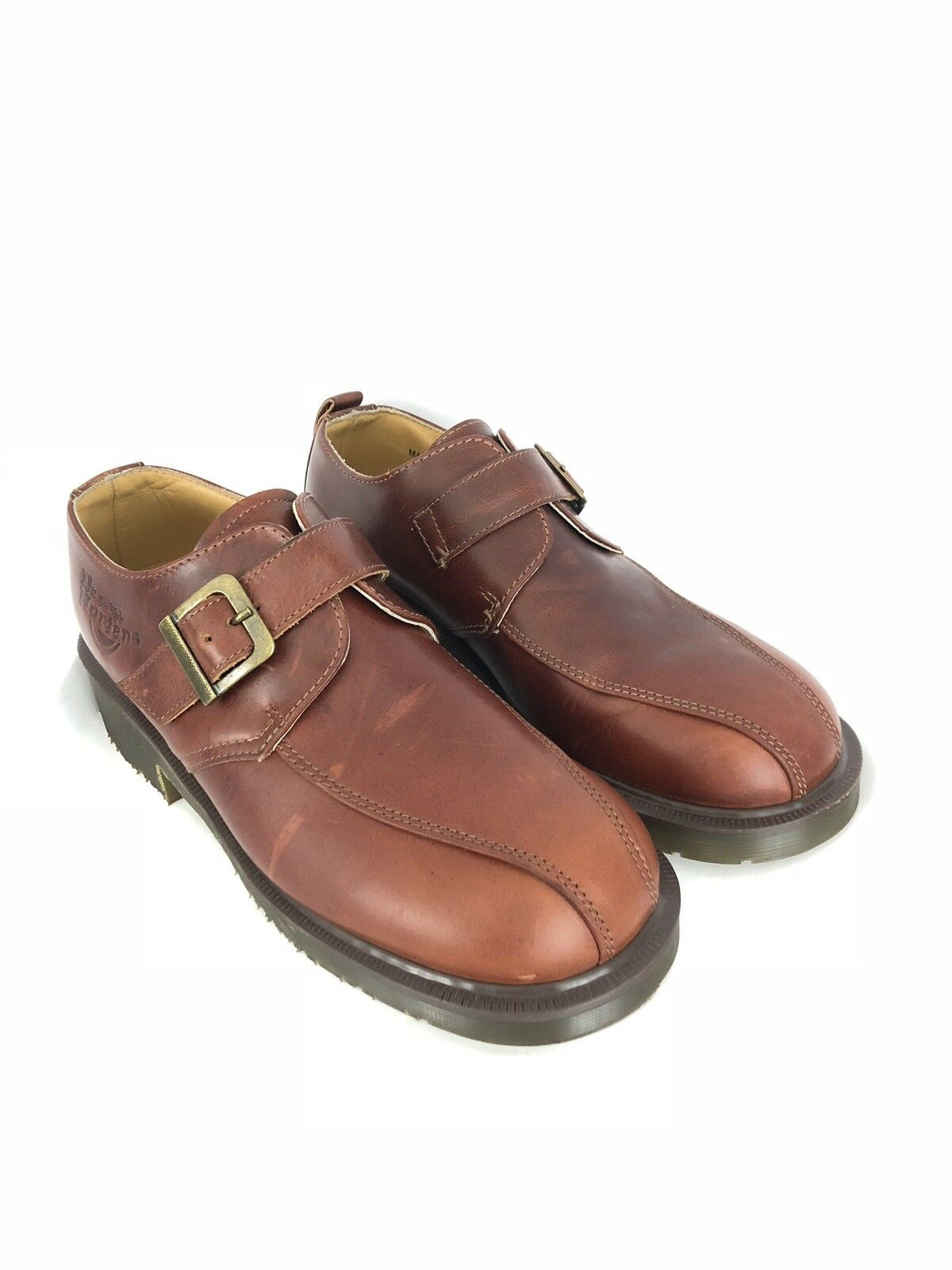 Dr Martens 8360 Brown Leather Size 7 Bicycle Toe Monk Strap Chunky Sole shoes