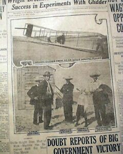 Orville-WRIGHT-BROTHERS-Airplane-Glider-Kitty-Hawk-Test-Flights-1911-Newspaper
