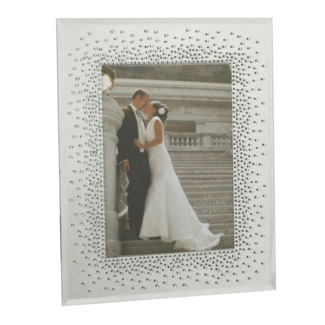 "Stunning Crystal 4"" x 6"" Starburst Mirrored Frame FG51346 Wedding Anniversary"