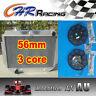 """3 ROW 56mm for HOLDEN HQ HJ HX HZ 253 & 308 V8 Aluminum Radiator + 2 ×12"""" Fan"""