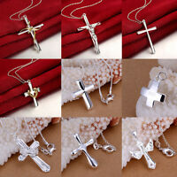 Ladies/Men's Necklace's Pendant 925 Sterling Silver Plated Cross Crucifix Jesus