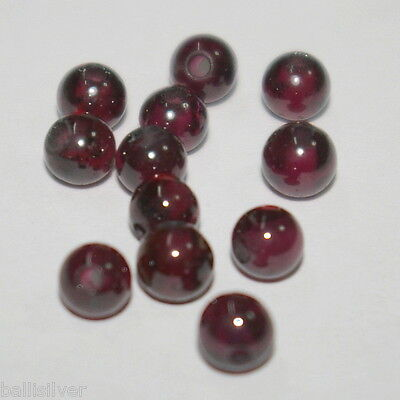 100 pieces 5mm Natural GARNET Round Beads Lot - Jewelry Making - BalliSilver