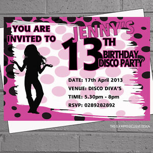 Details About 11th 12th 13th 14th Girls Spotty Polkadot Disco Birthday Party Invites X12 H0957