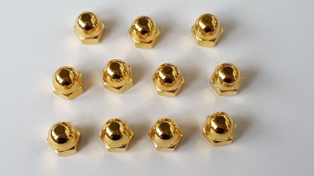 >vergoldet< Hutmutter M10_VW Golf, Polo>1,2,3_VR6 Mutter hohe Form >gold<