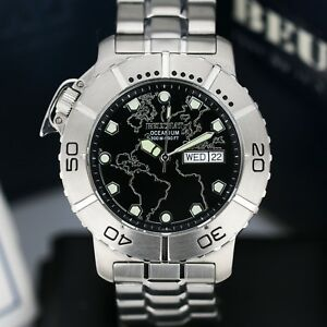 Mens-Watch-BEUCHAT-Oceanium-300mm-Stainless-Steel-Black-Dial-42mm-Divers-Watch