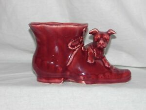 Vintage-Shawnee-Pottery-Dog-and-Shoe-Boot-Reddish-Brown-Ceramic-Planter