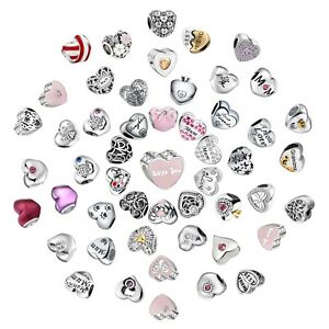 Love-Heart-Charms-Bead-Fit-925-Silver-Sterling-Bracelets-Necklace