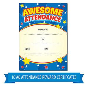 a6 awesome attendance reward certificates children kids teachers