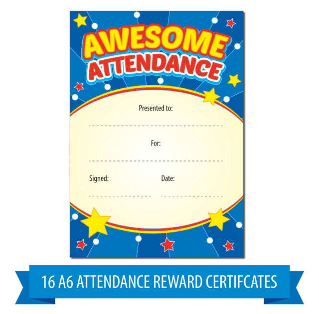 A6 Awesome Attendance Reward Certificates Children Kids Teachers