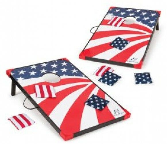 Bean Bag Toss Corn Hole  Game Set American Flag Stars and Stripes 8 Bags 36 x 24   buy discounts