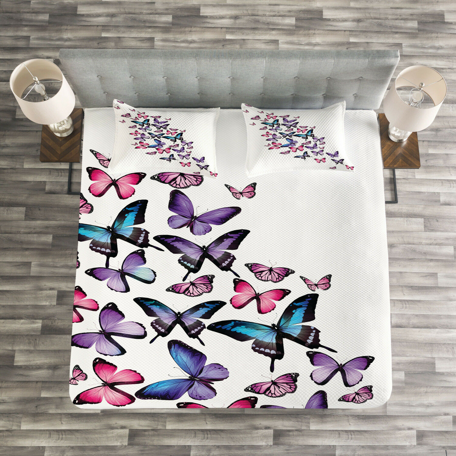Butterfly Quilted Bedspread & Pillow Shams Set, Cute Wings Feminine Print