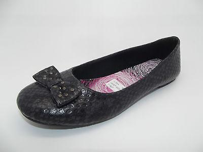 Las nuevas señoras Niñas Casual Moño Negro Diseño Dolly Zapatos Bailarinas Flats-Reino Unido 5