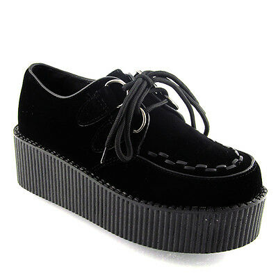 Creepers Black Platform Lace Up Ladies Flats Punk Goth Shoes Size 3-8 New