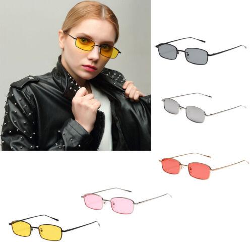 Vintage Women Rectangle Metal Frame Sunglasses Designer Eyeglass Shades