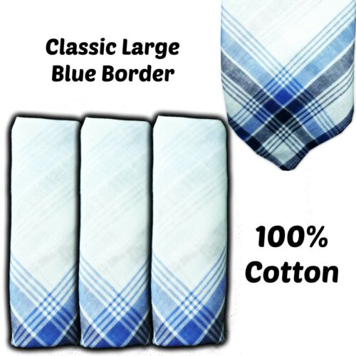 "100/% COTTON HANDKERCHIEFS BLUE BORDER 16/"" 40CM MEN LARGE HANKIES HANKY GRANDAD"