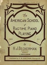 The American School of Ragtime Piano Playing by Beckerman PB 1918   W2