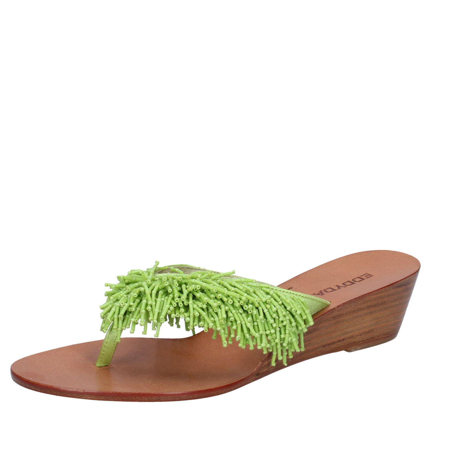 scarpe EU donna EDDY DANIELE 37 EU scarpe sandali verde raso AV410 6ea056