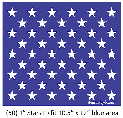 "Joanie 10.5/"" x 12/"" Stencil 1/"" Star Proud American Liberty Flag Sign 50"