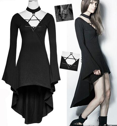 Robe gothique punk lolita pentacle pentagramme collier corset traîne PunkRave