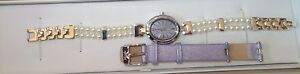 MISAKI-Ladies-swiss-quartz-Watch-stainless-steel-with-Pearls-and-two-bands-new