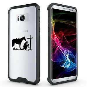 For-Samsung-S7-S8-S9-Clear-Shockproof-Bumper-Case-Cowboy-Praying-Cross-Horse