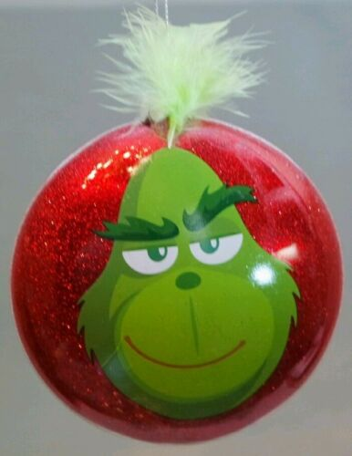 "Grinch Christmas Ornament Glass 3.5/"" Green Red Define Naughty Kurt Adler Gift"