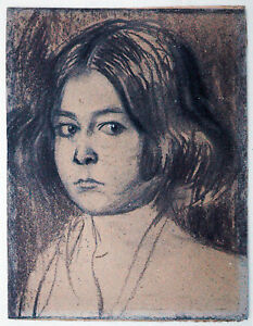 Franz-stucco-and-Richard-Pietzsch-Girls-Head-Charcoal-Drawing-1895-secession-time
